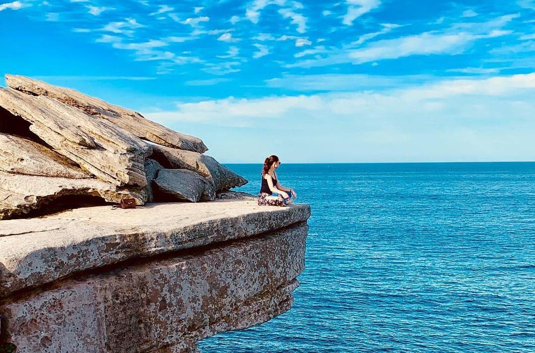 cliff, girl, coast