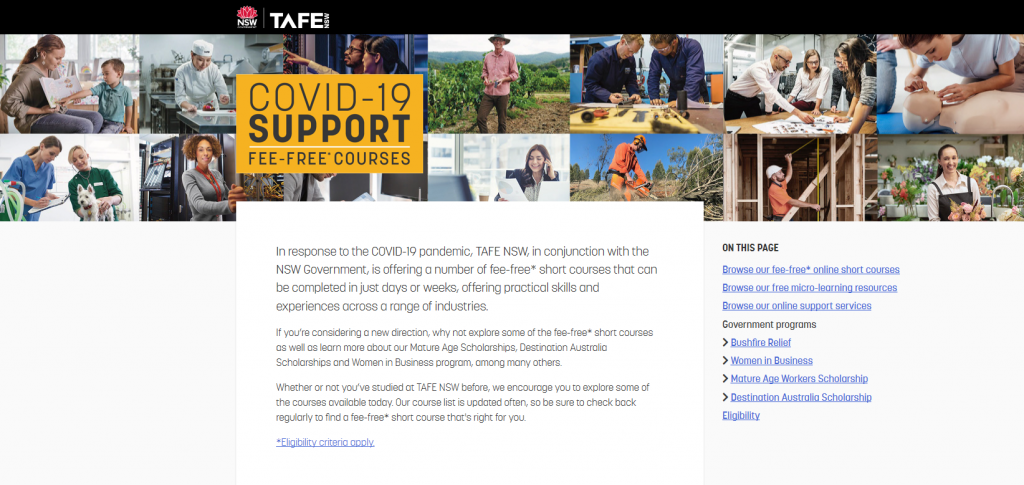 fee free tafe course upskill yourself in your gap year 2020 covid-19 corona virus gap year what to do