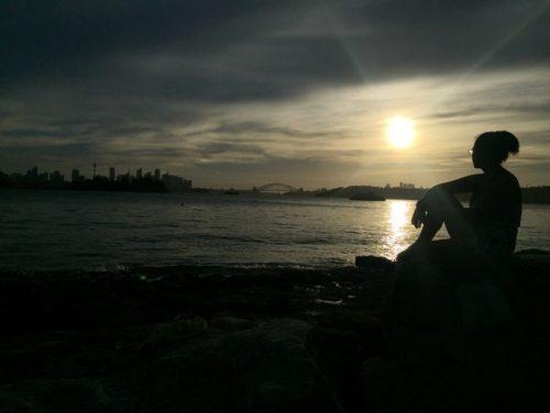 girl, sun, harbour